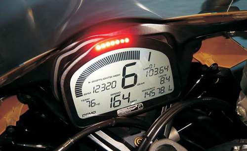 Shift light no painel de moto