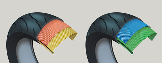 Diferença entre pneu de construção diagonal (esquerda) e  radial (direita)