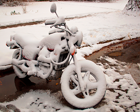 Moto no inverno: congelada